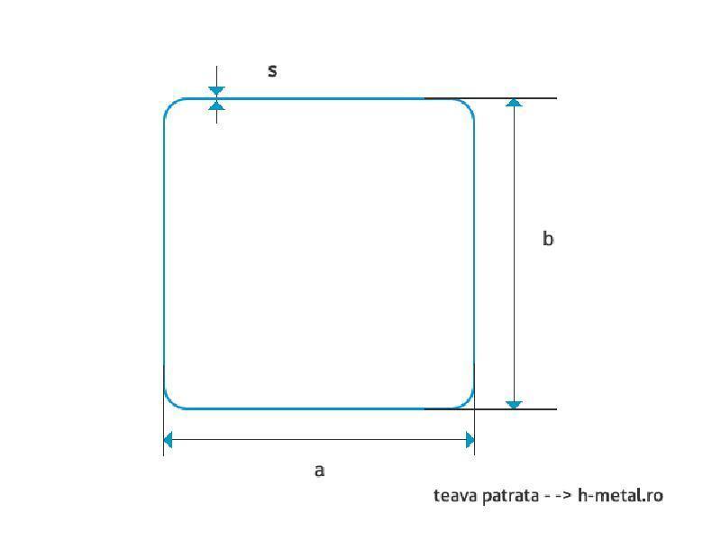Teava aluminiu dreptunghiulara 100 x 50 x 4 mm